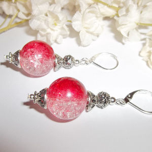 Ombre Earrings Red and Clear Dangle Drop Jewelry